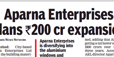 APARNA ENTERPRISES TO INVEST RS. 200CR. FOR EXPANSION